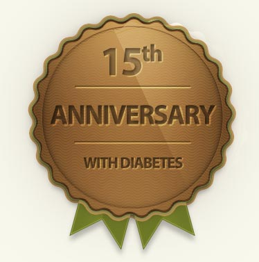Badge of my 15th anniversary with diabetes